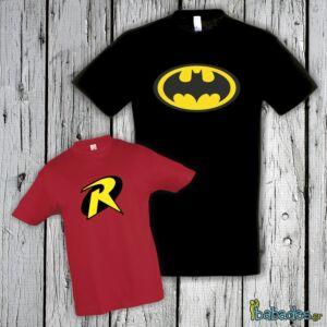 Σετ μπλούζα μπαμπά / παιδιού «Batman & Robin»